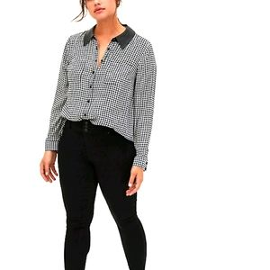 Black & White Houndstooth Faux Leather Collar Top
